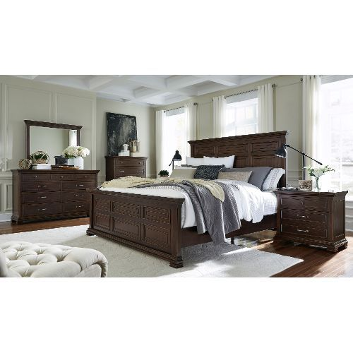 Clearance Brown Ale Classic Traditional 4 Piece King Bedroom Set ...