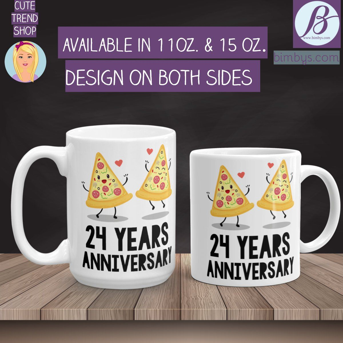 Anniversary gift idea 24th anniversary mugs 24th