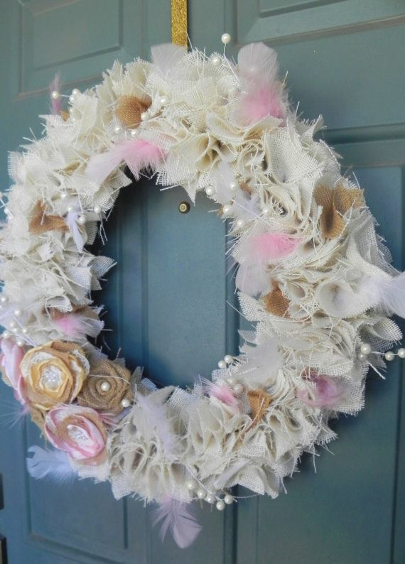 Shabby Chic Burlap Wreath Valentines Easter by RedRobynLane