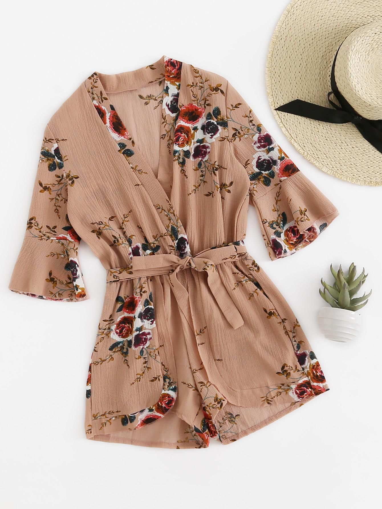 #AdoreWe #ROMWE ROMWE Fluted Sleeve Floral Print Surplice Romper With Belt  - AdoreWe.