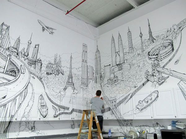 Artistic And Very Creative Kitchen Wall Decor Wall Drawing