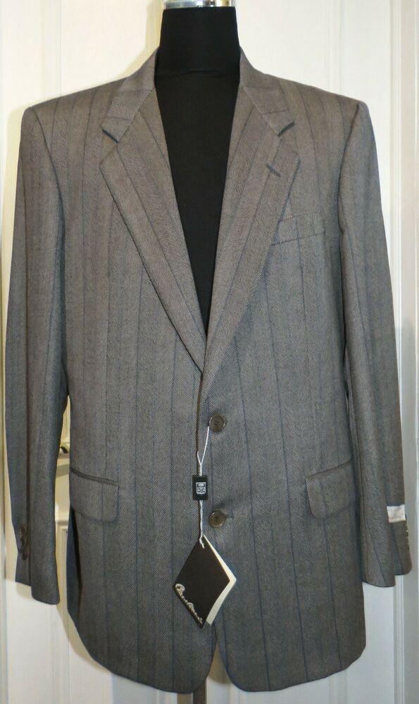 Men/'s Pierre Cardin Suit Grey Tailored Fit Suit 46R W40 L31