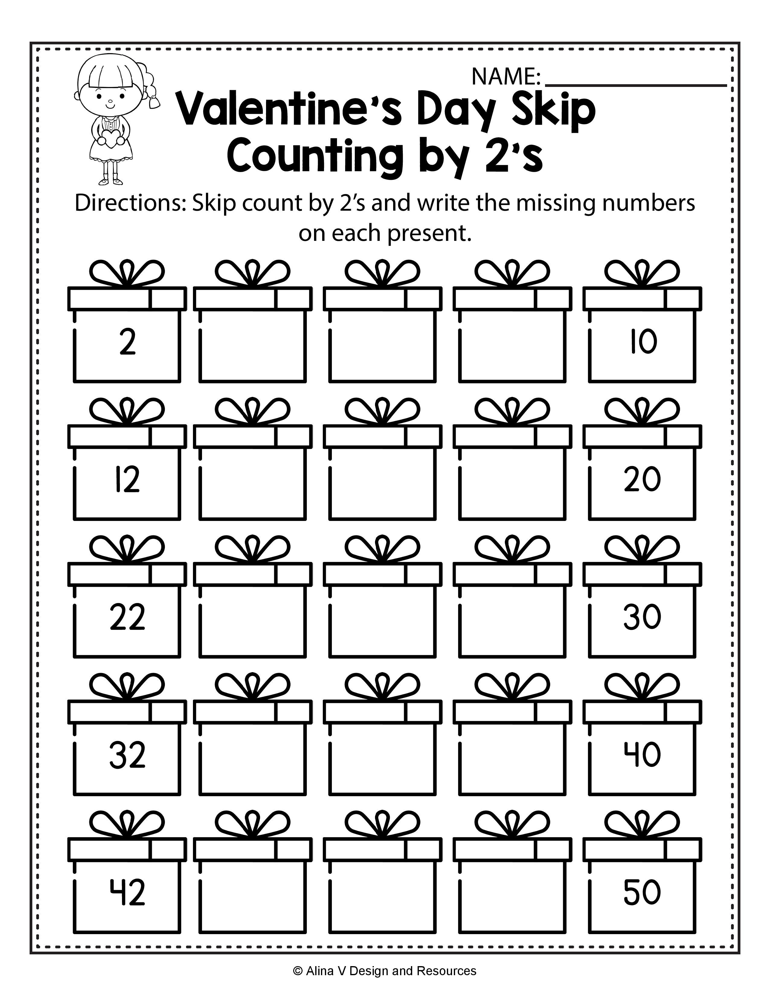 Valentine S Day Skip Count By 2 S Math Worksheets And Activities For Preschool Kindergar Skip Counting Worksheets Counting Worksheets Math Counting Worksheets