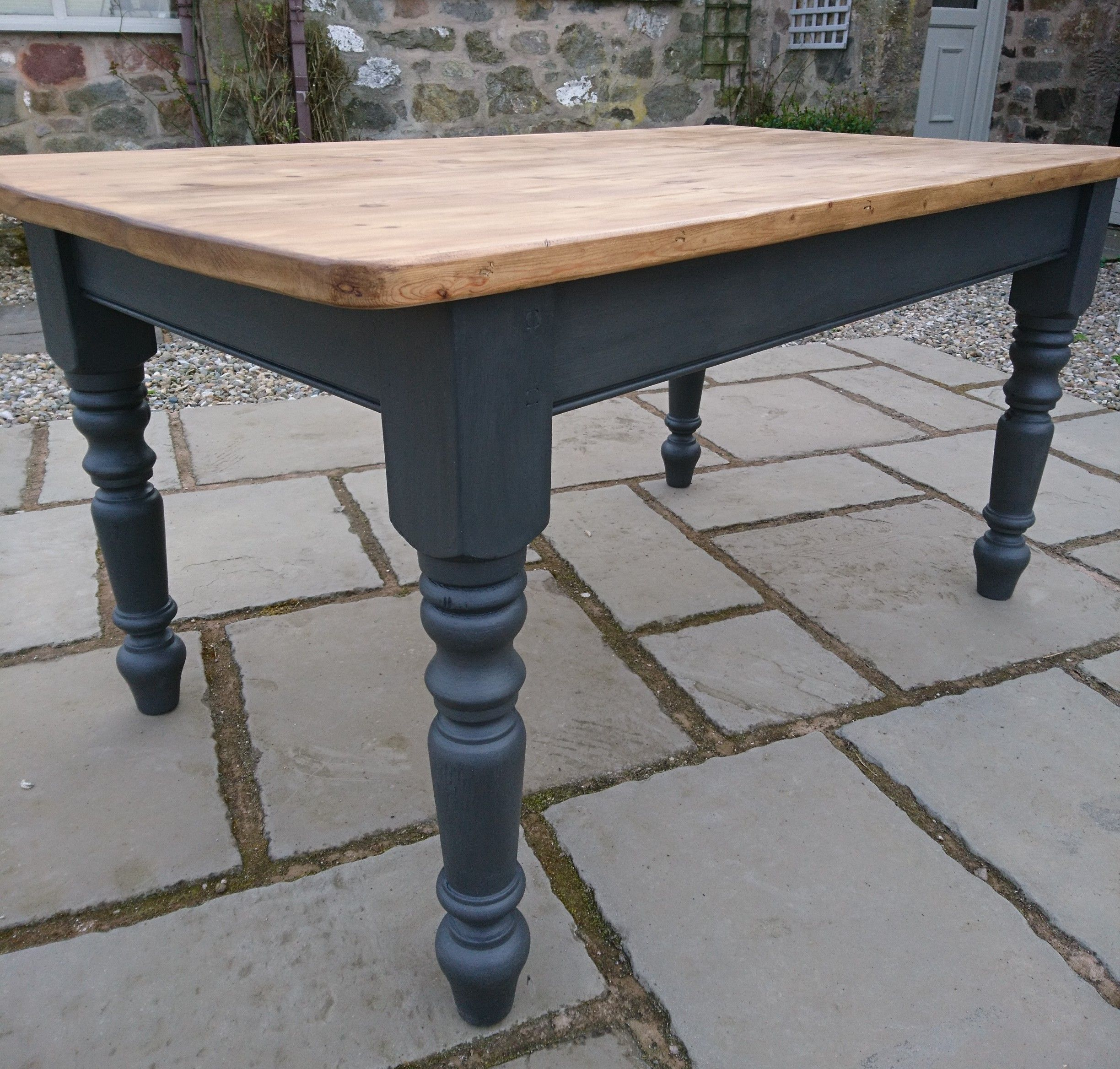 Farmhouse Kitchen Dining Table Pine Painted Off Black Rustic