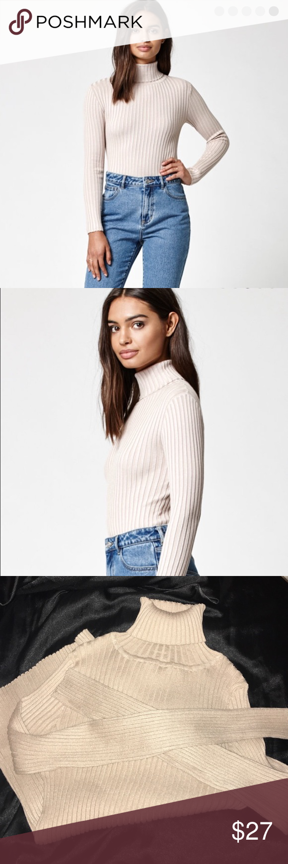 6557a53d8a0971 Kendall and Kylie ribbed turtleneck sweater Size medium. A bit too big for  me. Tan/cream color. This turtleneck sweater has cozy long sleeves and a  soft, ...