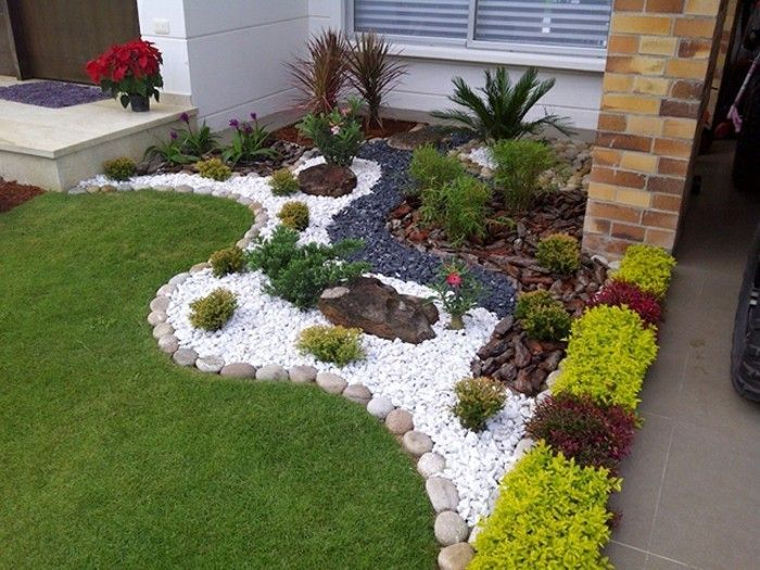 1001 Ideen Zum Thema Blumenbeet Mit Steinen Dekorieren Vorgarten Gestalten D Small Front Yard Landscaping Front Yard Landscaping Design Landscaping With Rocks