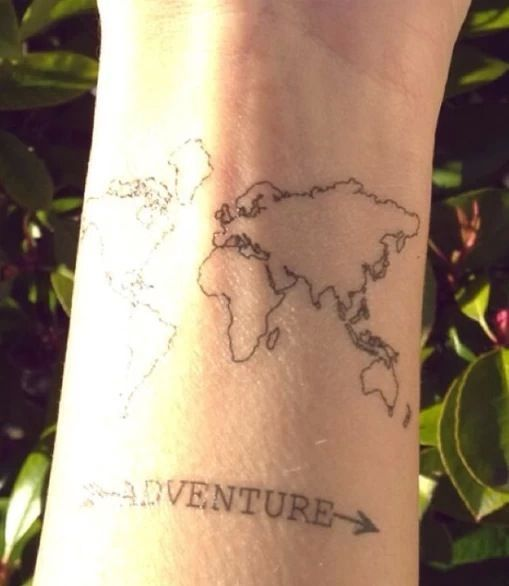 World map adventure tattoo another lifetime pinterest adventure is out there i like the idea of a world map tattoo i would colour in every country that i travel too gumiabroncs Image collections