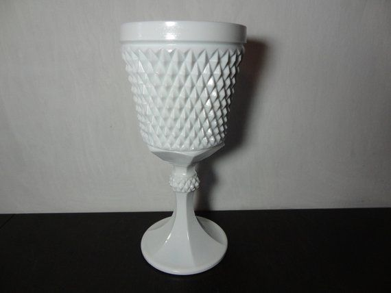 Vintage Rare White Milk Glass Tall Pedestal Vase/Compote