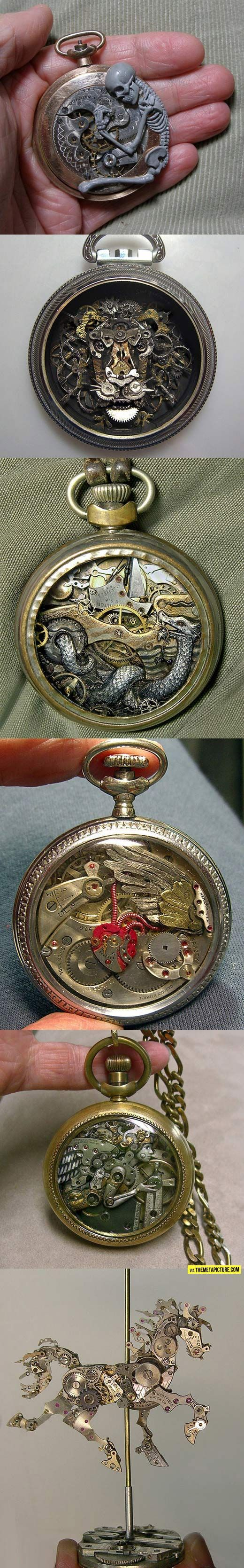 Tattoo inspiration... Sculptures from old watch parts