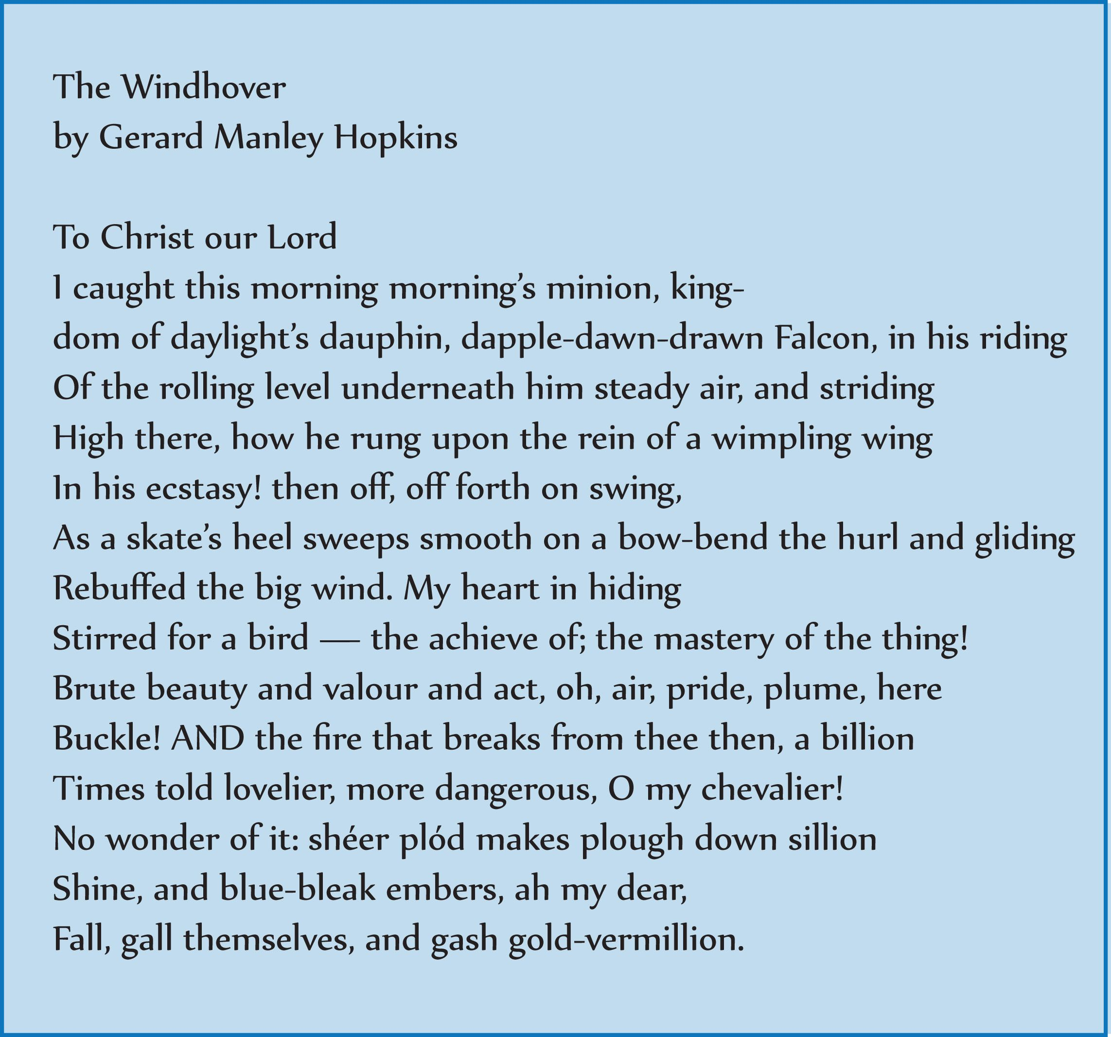 The Windhover - Gerard Manley Hopkins