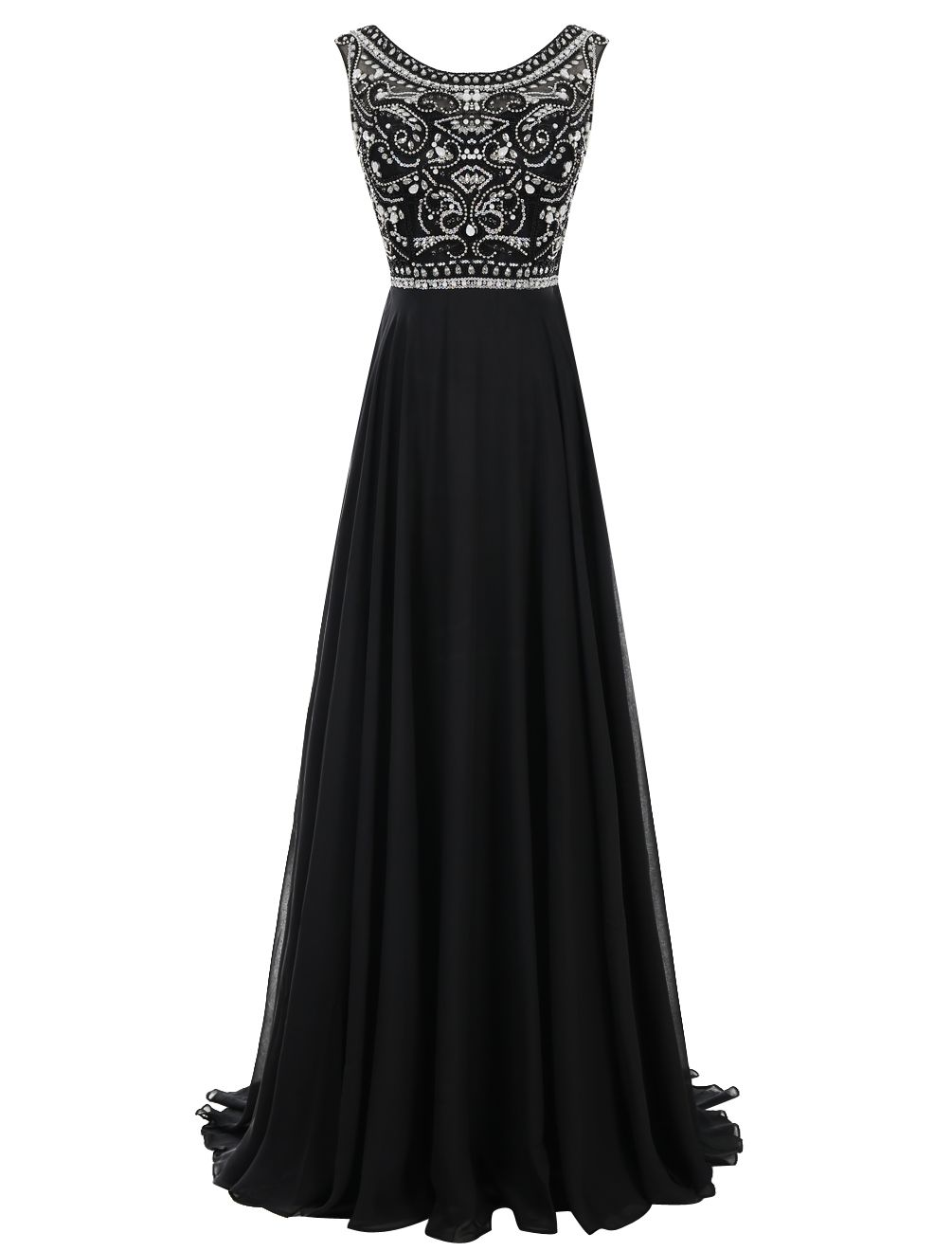 Decent Black Prom Dress Bateau Sleeveless Sweep Train Pleated Beading With Rhinestones Prom Dresses Plus Prom Dresses Hot Prom Dress [ 1320 x 1005 Pixel ]