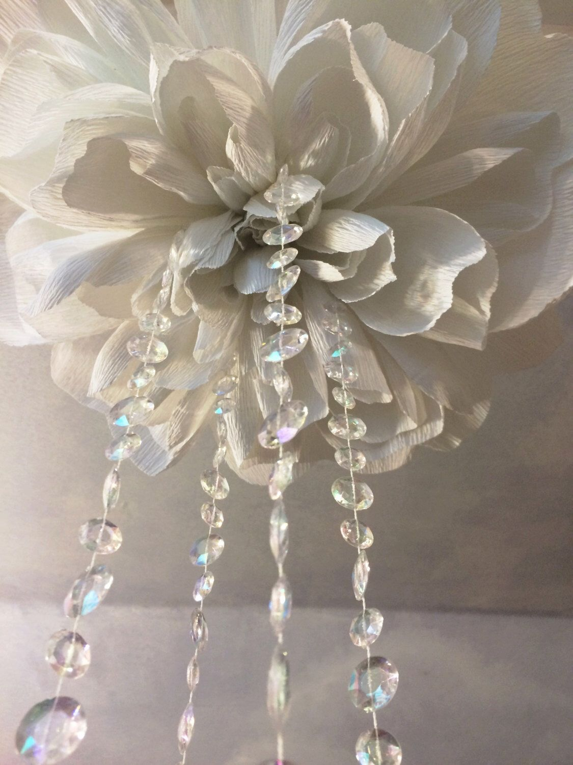 Large hanging paper flower with crystals hanging wedding flower large hanging paper flower with crystals hanging wedding flower wedding decor baby nursery arubaitofo Choice Image