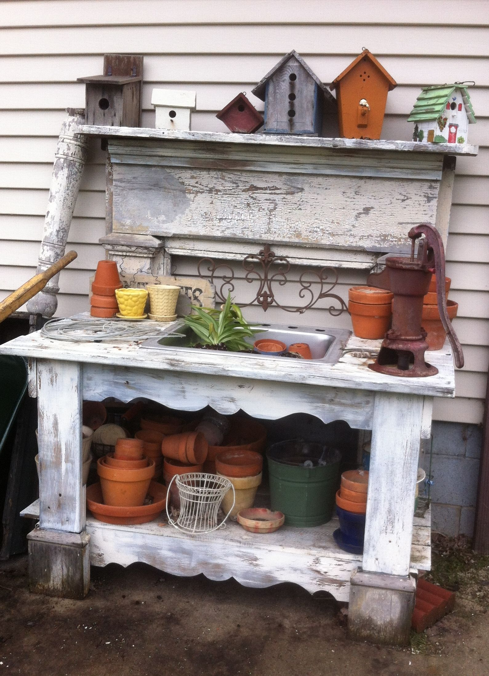 Potting Table Made From Victorian Fireplace Mantel Sink