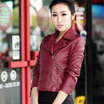 3cac9a1509b Brand Motorcycle PU Leather Jacket Women Winter And Autumn New Fashion Coat  4 Color Zipper Outerwear jacket New 2017 Coat HOT