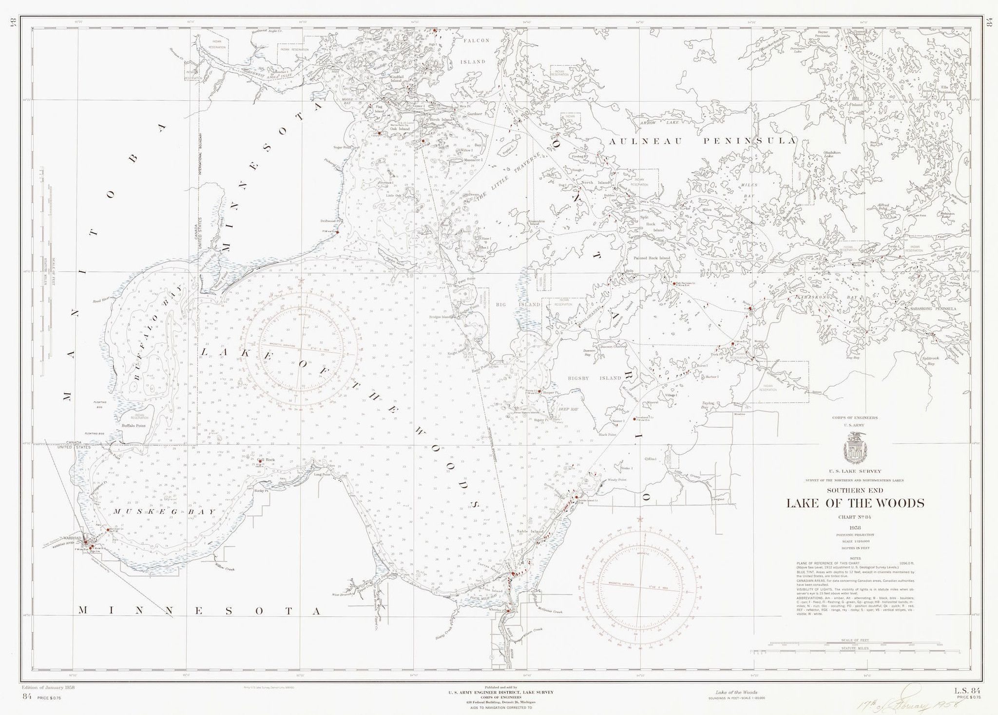 Lake of the Woods Historical Map - 1958 (Black & White)