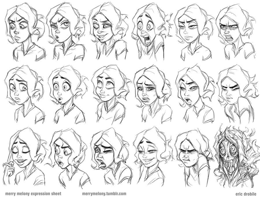 Drawing Animation Character Design : Merry melony expression sheet by drobile