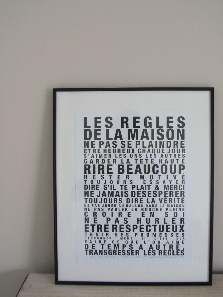 affiche les r gles de la maison ecriture noire sur fond blanc un texte plein de charme et d. Black Bedroom Furniture Sets. Home Design Ideas