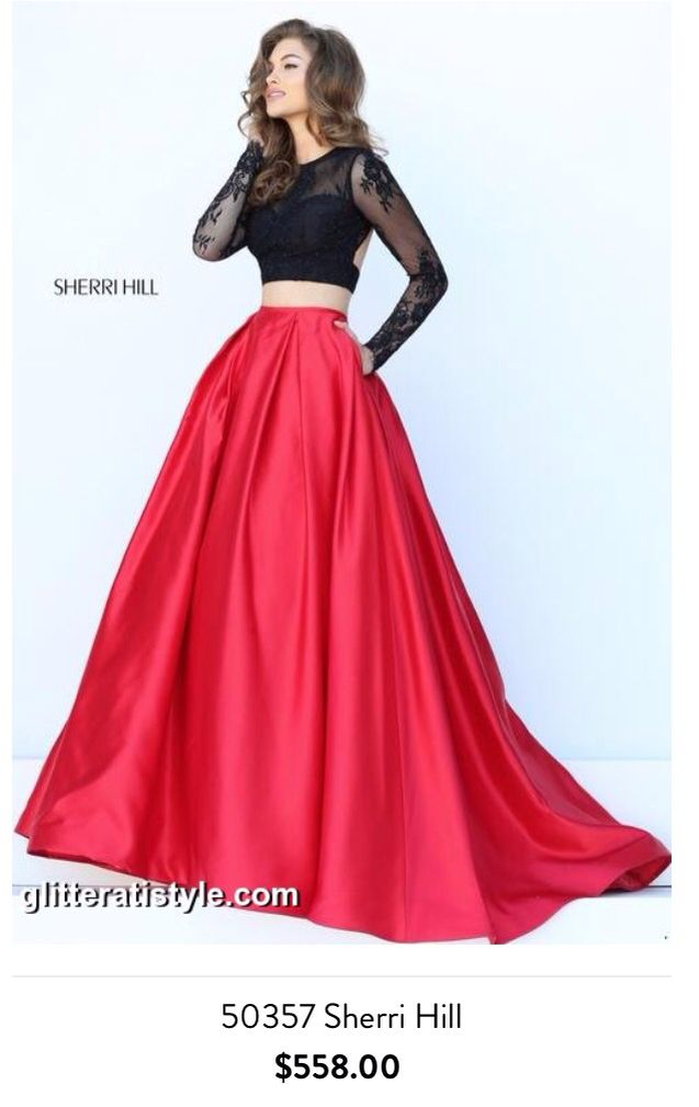 Sherri hill two piece red skirt black lace and cutout long sleeve ...