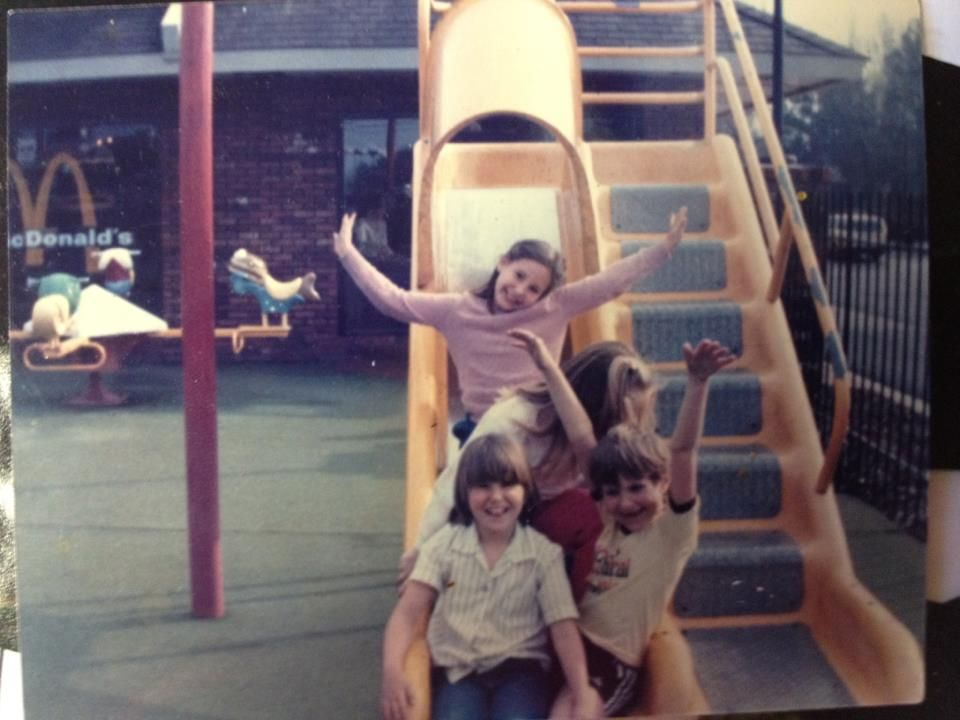 Lee Lowery Tanner shares this McMemory of a McDonald's playground featuring the yellow half-covered slide and the four-seated bouncer teeter-totter seesaw featuring Filet-O'Fish, Captain Crook's boat, and Fry Gobblin characters.
