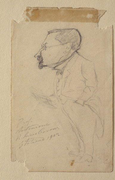 Il professore di italiano del liceo Cavour, Oreste Antognoni; caricatura di Golia.