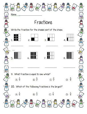 Fraction Freebie--winter math worksheet for second grade