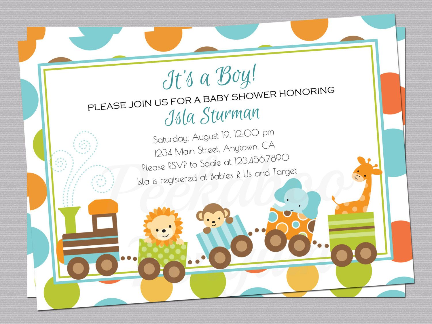 Jungle Baby Shower Invitation, Train Baby Shower Invite, Boy Baby ...