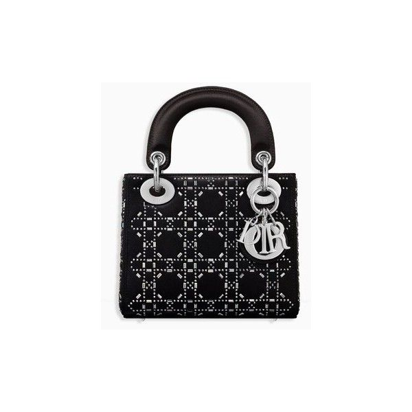 f614366f3577 Mini lady dior bag in black cannage satin with rhinestones - Dior ❤ liked  on Polyvore
