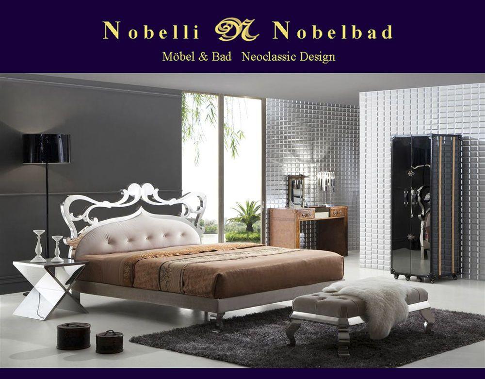 Bett Doppelbett aus Holz Edelstahl Italien Modern Art Design - modernes designer doppelbett holz