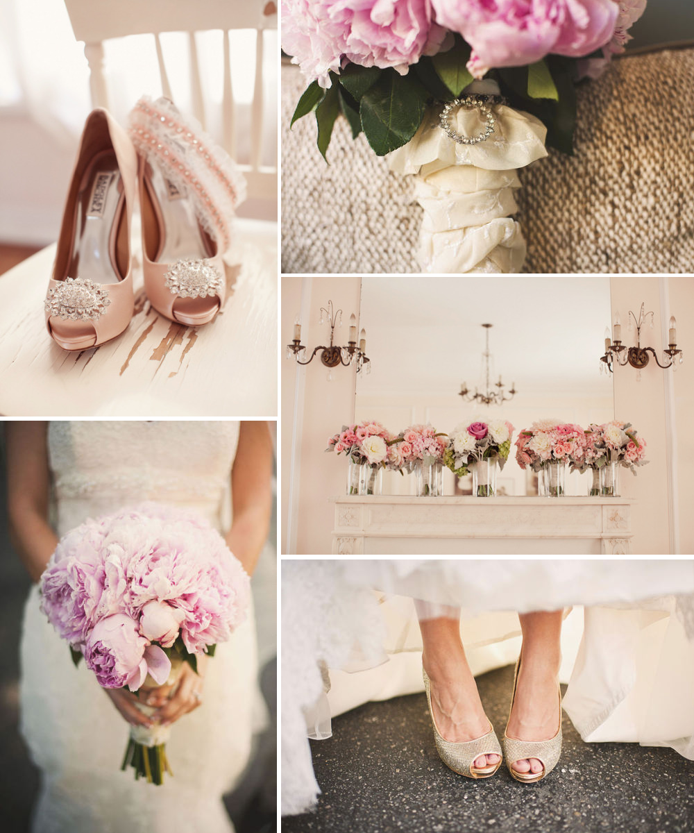 Rose gold wedding inspiration onewed rose gold ruffly wedding chair - Rose Gold Wedding Color Palette Bridal Heels Bouquet Onewed Shoes