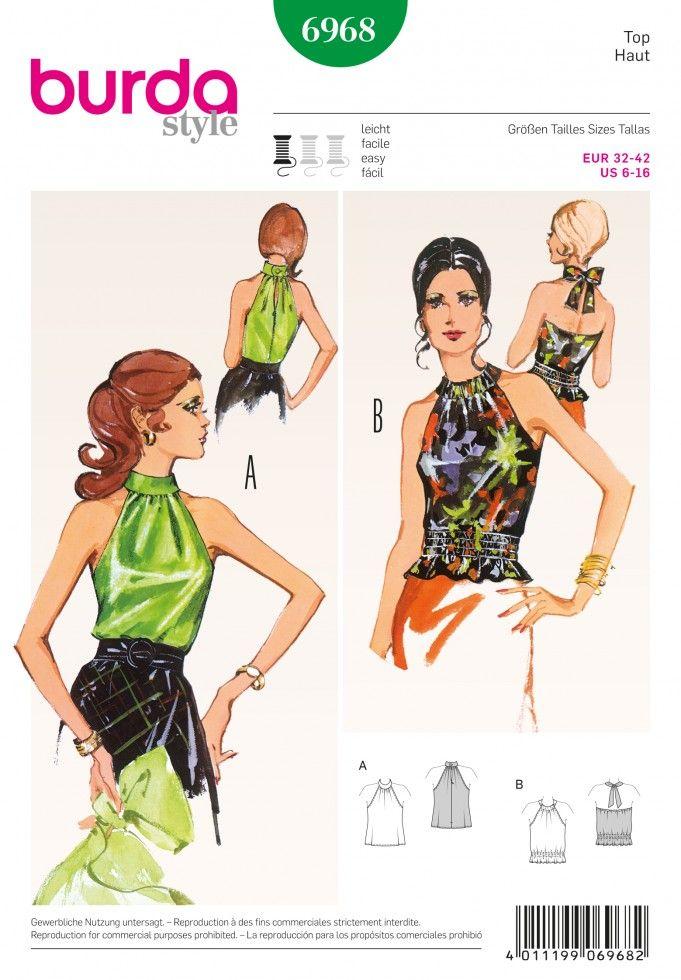 Burda Ladies Easy Sewing Pattern 6968 Vintage Style Halter Neck Tops ...