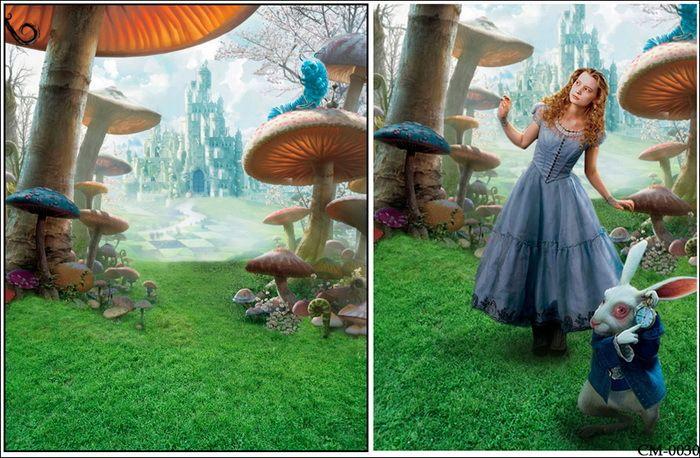 8x8ft Custom Photography Backgrounds Studio Backdrops: 8x8FT Alice Wonderland Forest Mushroom Castle Palace Kids