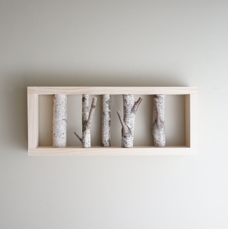 White birch forest wall art - birch branch, birch log, wall hanging, modern  rustic wall decor, framed birch art