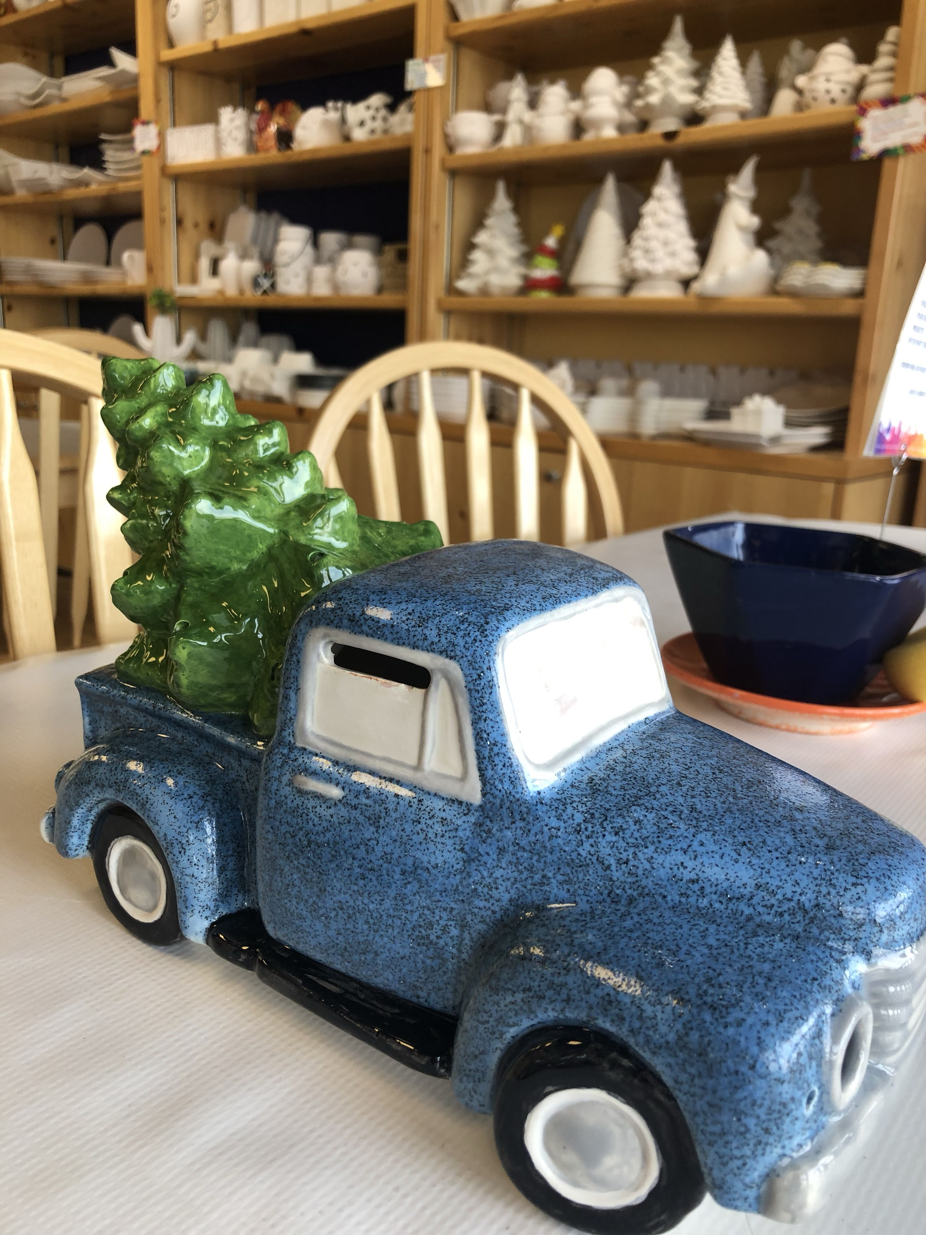 Antique Truck With Light Up Christmas Tree Painted At Color Me