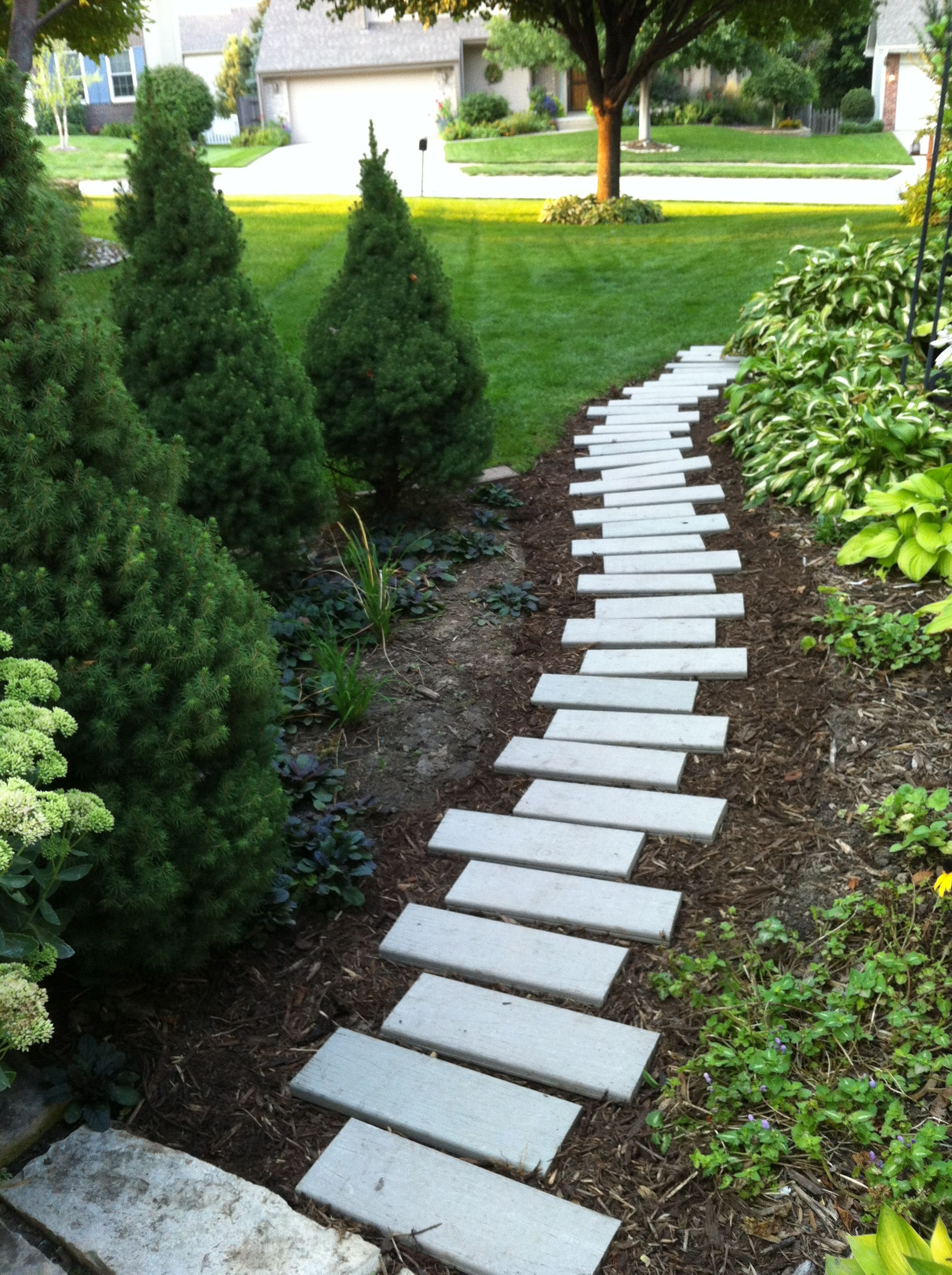 My fun little side yard path made from leftover composite ... on Side Yard Path Ideas id=88190