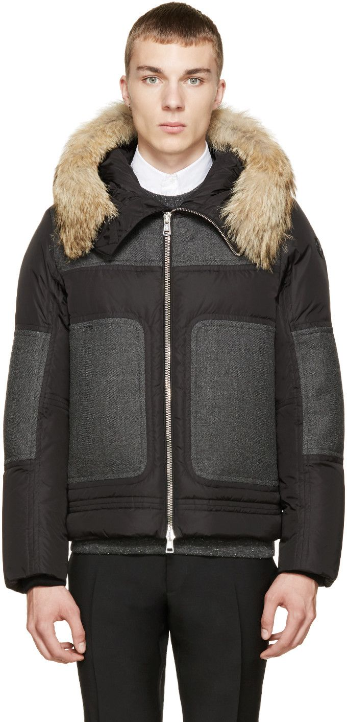 Moncler Grey & Black Down Dedion Jacket