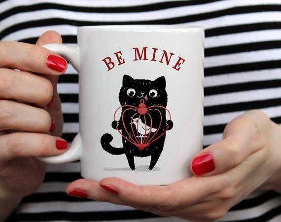 Be Mine Valentines Day Mug Gift for Boyfriend Girlfriend Husband Wife, Cute Quirky Cat Mug, I Love Y