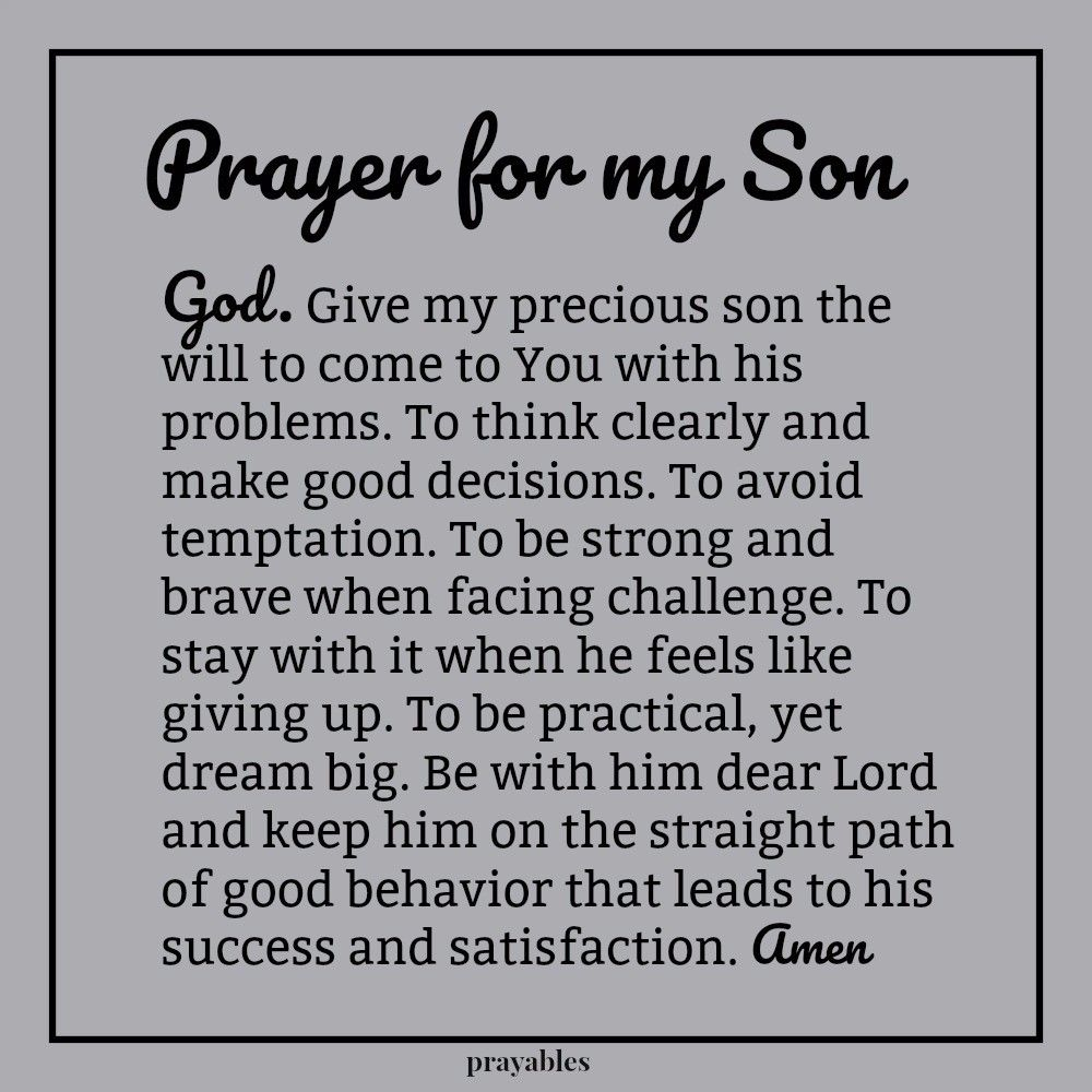 Prayer For My Son Prayables