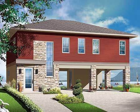 No Worries Flood Zone House Plan - 22340DR | Beach, Vacation, Canadian, Metric, Narrow Lot, 2nd Floor Master Suite, CAD Available, PDF | Architectural Designs