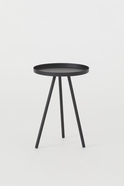 Black Metal Bedside Tables: Small Side Table - Black -