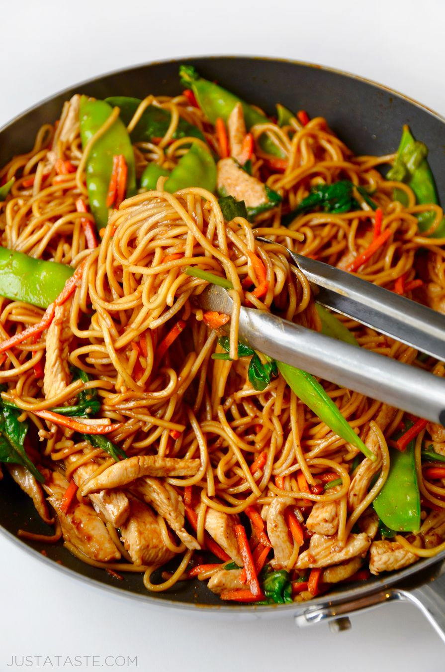 Pin by just a taste kelly senyei on just a taste recipes take on the takeout with this quick and easy recipe for the best chicken lo mein loaded with noodles and tossed in a garlicky soy sauce forumfinder Choice Image