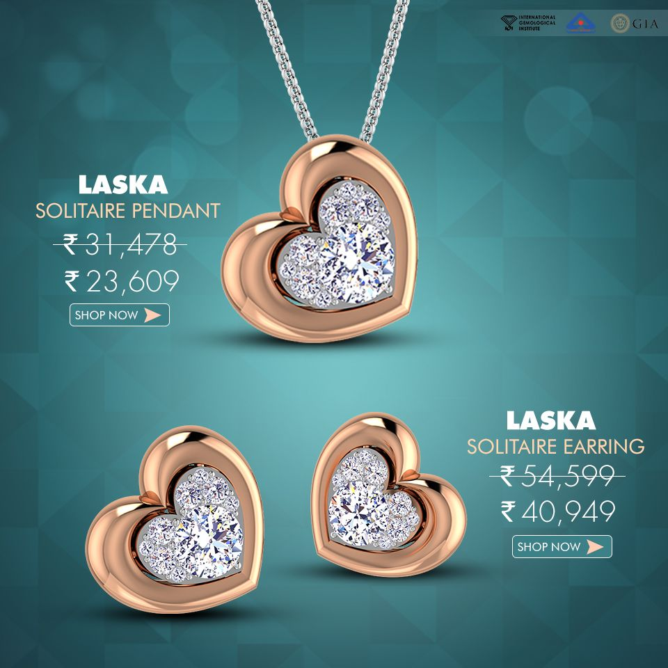 Get the festive look with laska solitaire pendant and earring set