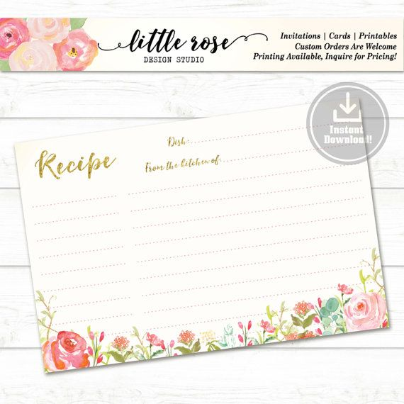 Recipe for the Bride to Be  Printable Recipe by LittleRoseStudio