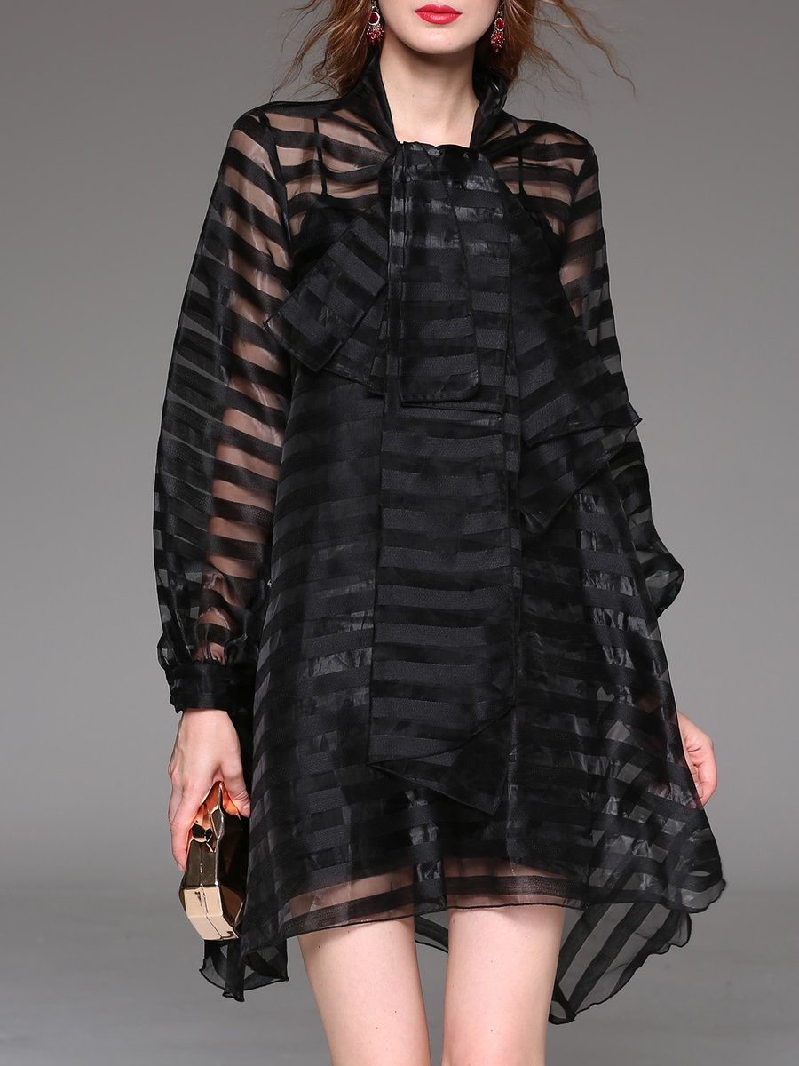 Yujia black seethrough look long sleeve asymmetrical stripes mini