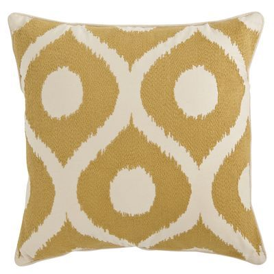 The popular geometric pattern is created here in intricate hand-embroidery on a soft cotton cover. Whether you arrange it in a group on your sofa or alone on a favorite chair, get ready for compliments.