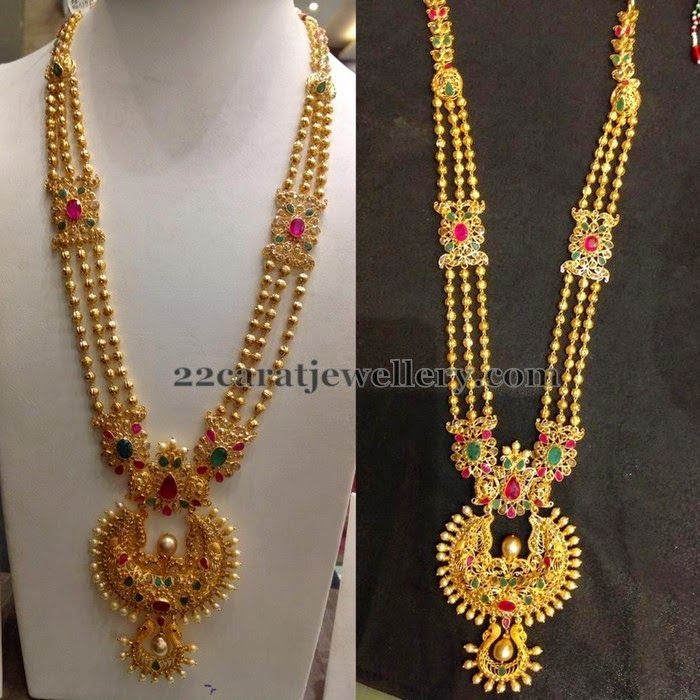 Beautiful South Indian Double Long Necklace Set: Jewellery Designs: Gold Balls Floral Long Set