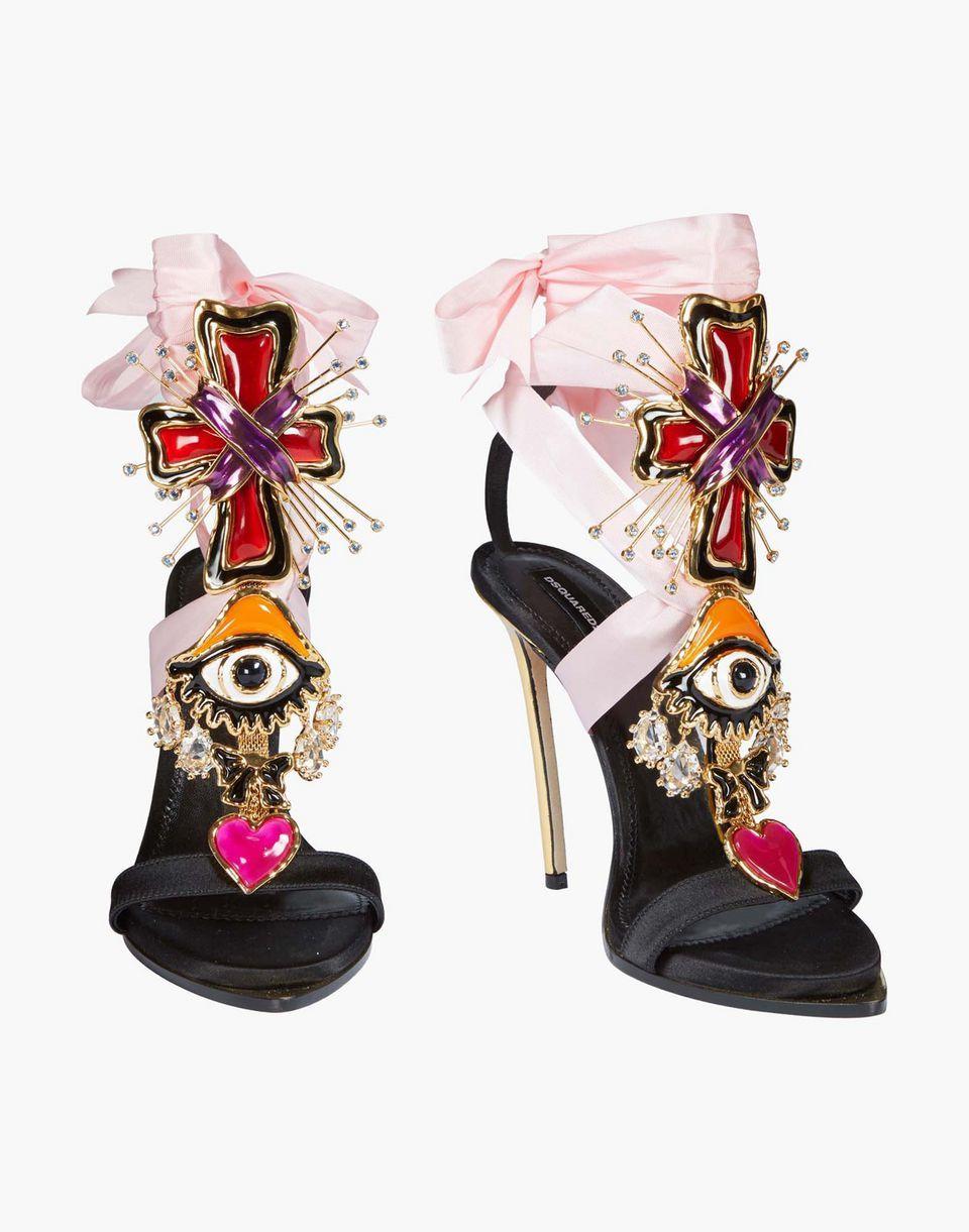 74ec57f62eafe lace-up embellished satin sandals shoes Woman Dsquared2 | Fierce ...