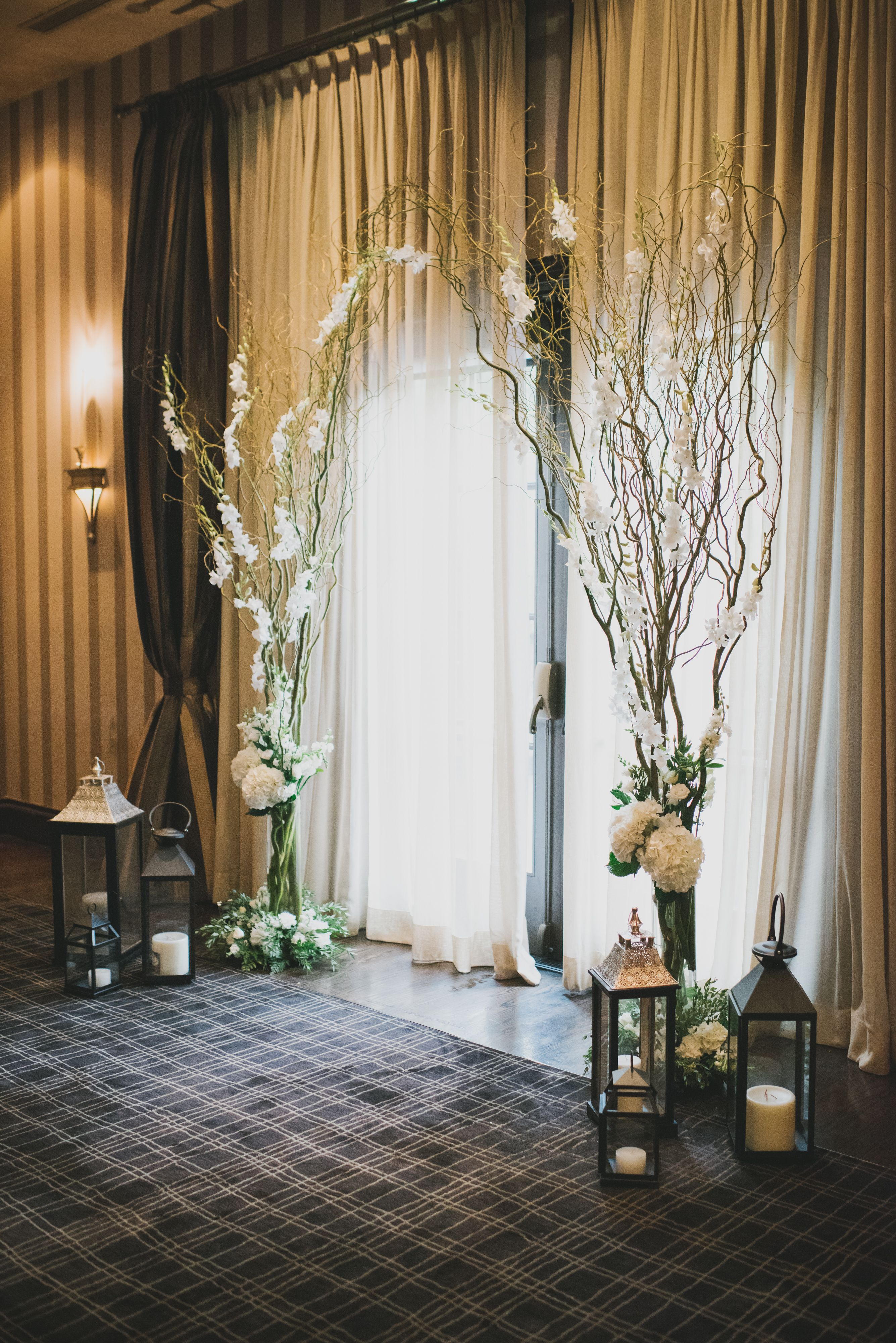 Willow Branch, Orchid, Hydrangea and Lantern Altar Decorations ...