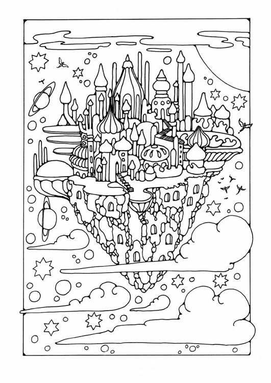 ☆ Colouring Page flying city | Proyectos que intentar | Pinterest ...