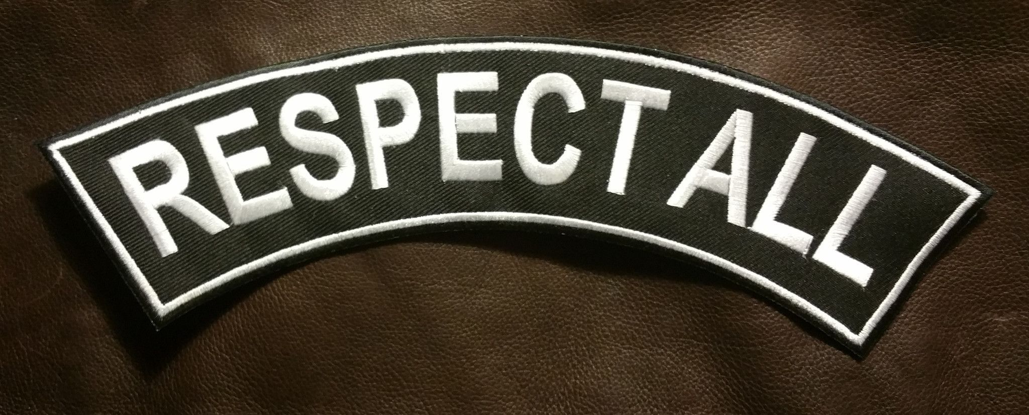 RESPECT ALL White on Black Top Rocker Patch