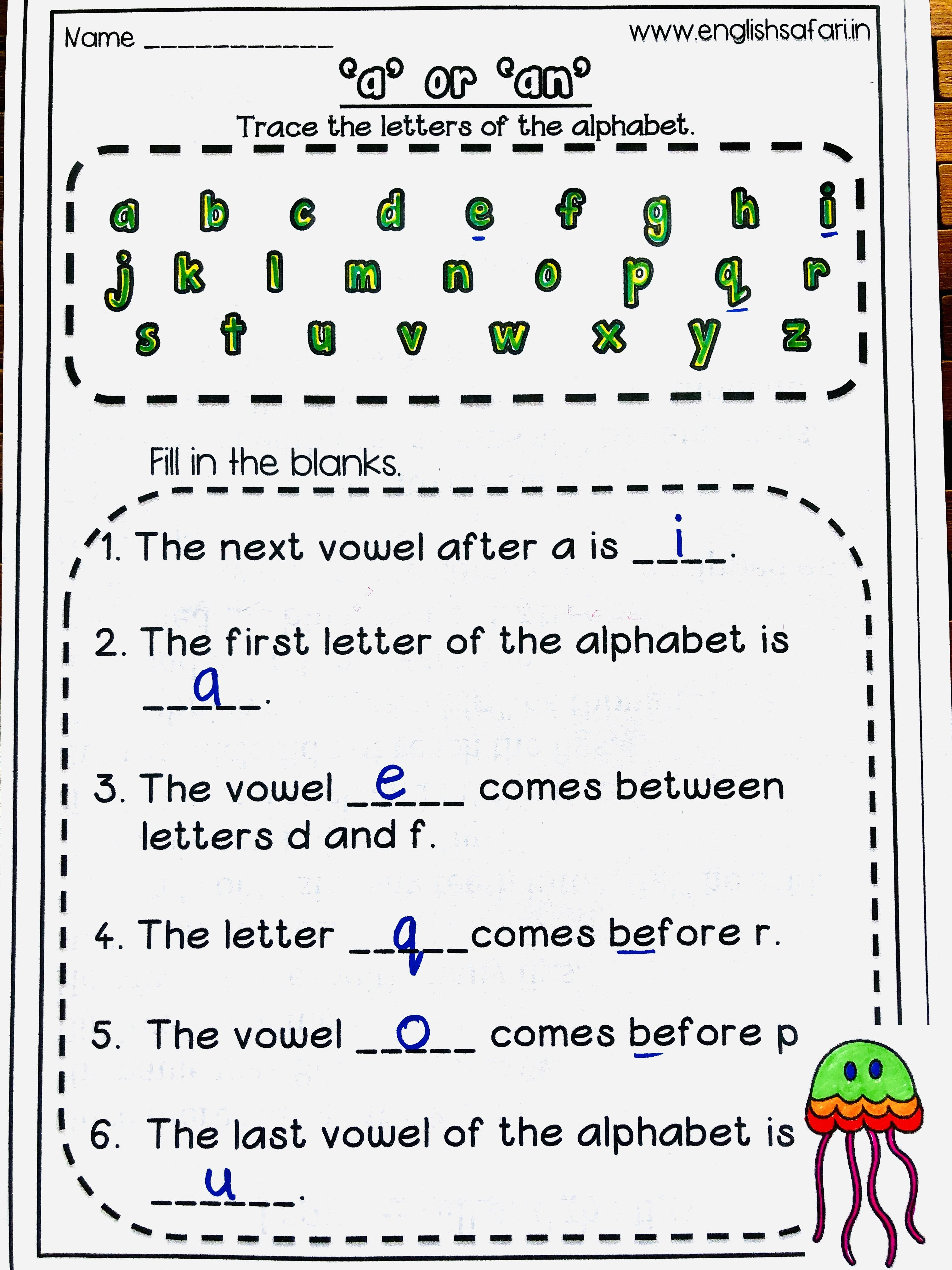 A And An Worksheets For Grade 1 In